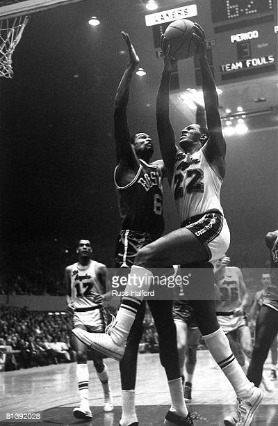 Basketball finals Los Angeles Lakers Elgin Baylor in action vs Boston Celtics Bill Russell Boston MA 4/24/1963