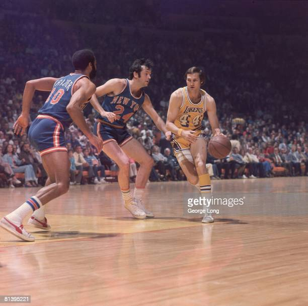 Basketball finals Los Angeles Lakers Jerry West in action vs New York Knicks Bill Bradley Inglewood CA 4/30/19735/3/1973
