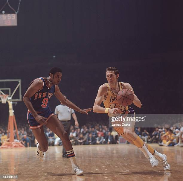 Basketball finals Los Angeles Lakers Jerry West in action vs New York Knicks Dave Stallworth Los Angeles CA 5/6/1970
