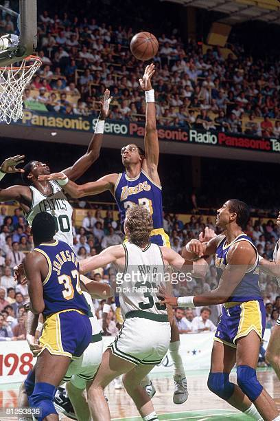 Basketball finals Los Angeles Lakers Kareem AbdulJabbar in action vs Boston Celtics Robert Parrish Boston MA 6/7/1987