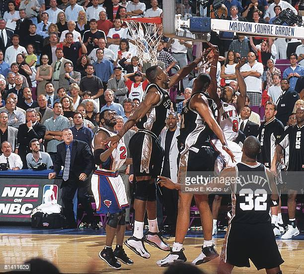 Basketball finals New York Knicks Latrell Sprewell in action taking and missing last shot of game vs San Antonio Spurs David Robinson and Tim Duncan...