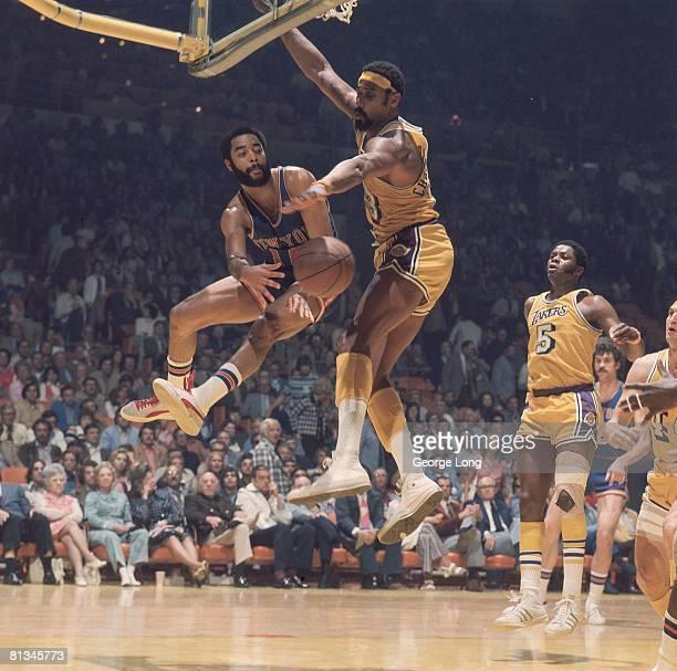 Basketball finals New York Knicks Walt Frazier vs Los Angeles Lakers Wilt Chamberlain Inglewood CA 4/30/19735/3/1973
