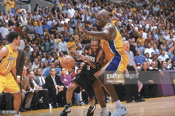 Basketball: finals, Philadelphia 76ers Allen Iverson in action vs Los Angeles Lakers Shaquille O'Neal , Los Angeles, CA 6/6/2001