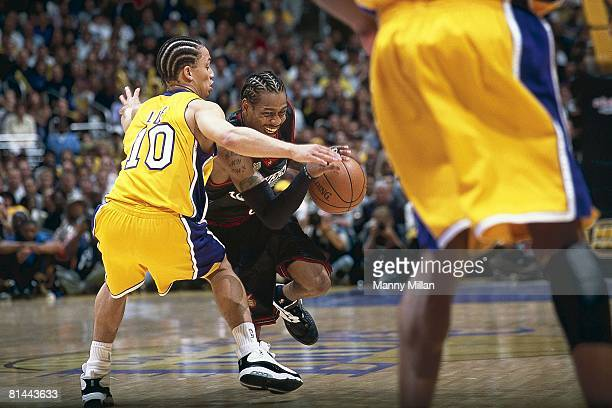 Basketball: finals, Philadelphia 76ers Allen Iverson in action vs Los Angeles Lakers Tyronn Lue , Los Angeles, CA 6/6/2001