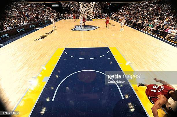 Fisheye view of Memphis Grizzlies team logo at center court during game vs Miami Heat at FedEx Forum Memphis TN CREDIT Greg Nelson