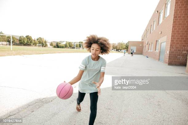 basketball for girls - dribbling sports stock pictures, royalty-free photos & images