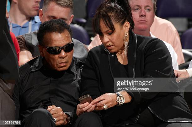 Former heavyweight boxing champion Muhammad Ali courtside with wife Lonnie Ali during Phoenix Suns vs Miami Heat at US Airways CenterPhoenix AZ...