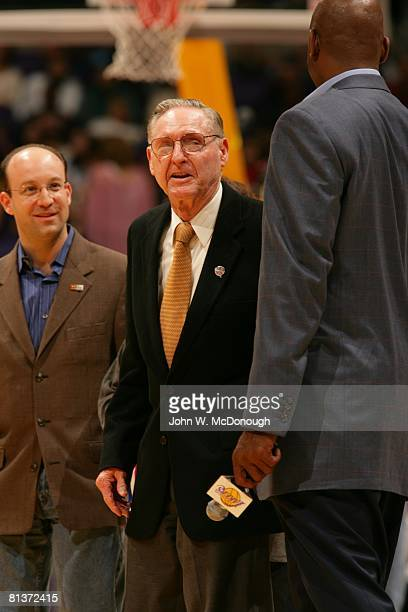 Basketball Former Los Angeles Lakers coach and general manager Bill Sharman on court before game vs Dallas Mavericks Los Angeles CA 3/4/2005