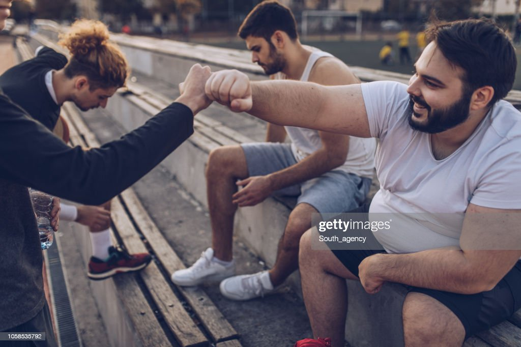Basketball friends relaxing : Stock Photo