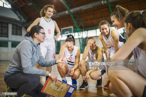 basketball girls team with coach - women's basketball stock pictures, royalty-free photos & images