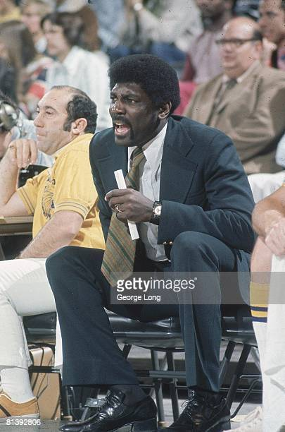 Basketball Golden State Warriors coach Al Attles on bench during game vs Portland Trail Blazers Portland OR