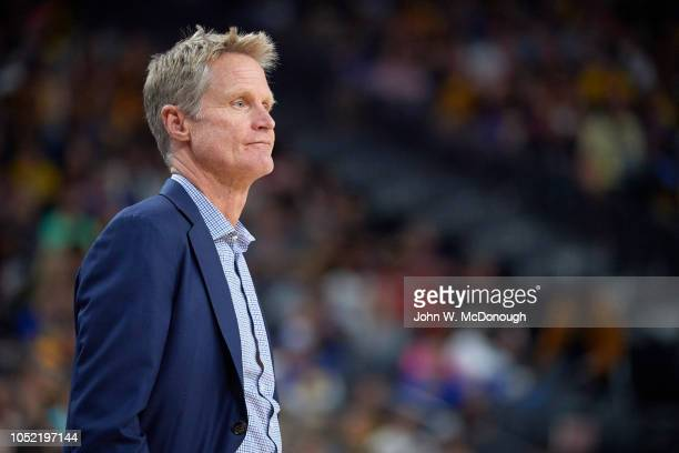 Golden State Warriors coach Steve Kerr during preseason game vs Los Angeles Lakers at T Mobile Arena Las Vegas NV CREDIT John W McDonough