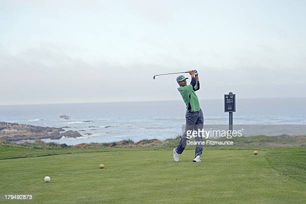 Golden State Warriors guard Steph Curry in action drive from tee on No 4 while playing a round of golf at Spyglass Hill GC Pebble Beach CA CREDIT...