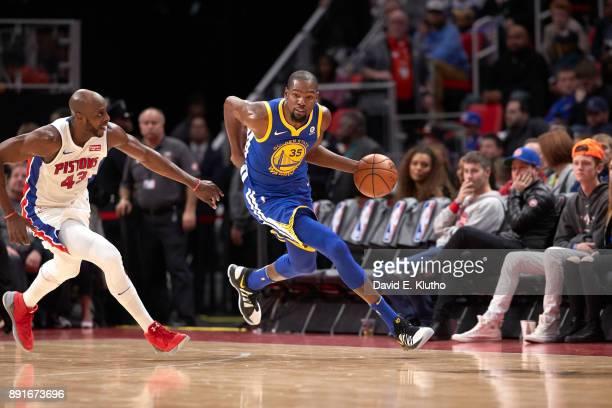 Golden State Warriors Kevin Durant in action vs Detroit Pistons Anthony Tolliver at Little Caesars Arena Detroit MI CREDIT David E Klutho