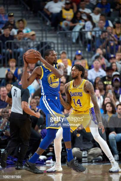 Golden State Warriors Kevin Durant in action vs Los Angeles Lakers Brandon Ingram during preseason game at T Mobile Arena Las Vegas NV CREDIT John W...