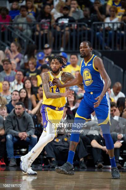 Golden State Warriors Kevin Durant in action vs Los Angeles Lakers during preseason game at T Mobile Arena Las Vegas NV CREDIT John W McDonough
