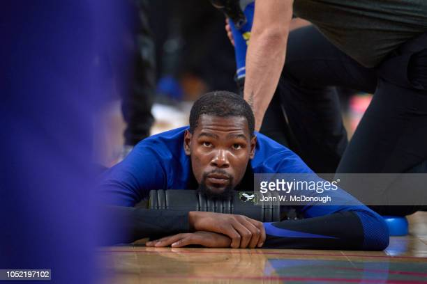 Golden State Warriors Kevin Durant stretching on court before preseason game vs Los Angeles Lakers at T Mobile Arena Las Vegas NV CREDIT John W...