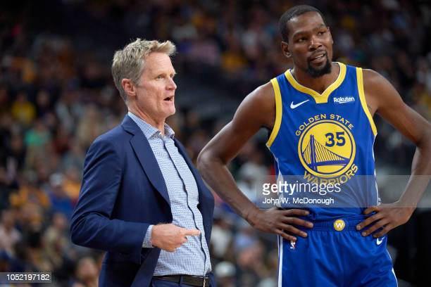 Golden State Warriors Kevin Durant with coach Steve Kerr during preseason game vs Los Angeles Lakers at T Mobile Arena Las Vegas NV CREDIT John W...