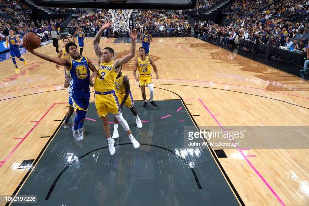 Golden State Warriors Quinn Cook in action vs Los Angeles Lakers Lonzo Ball during preseason game vs Los Angeles Lakers at T Mobile Arena Las Vegas...