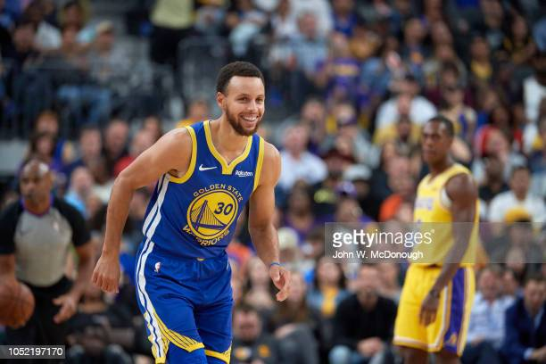 Golden State Warriors Stephen Curry during preseason game vs Los Angeles Lakers at T Mobile Arena Las Vegas NV CREDIT John W McDonough