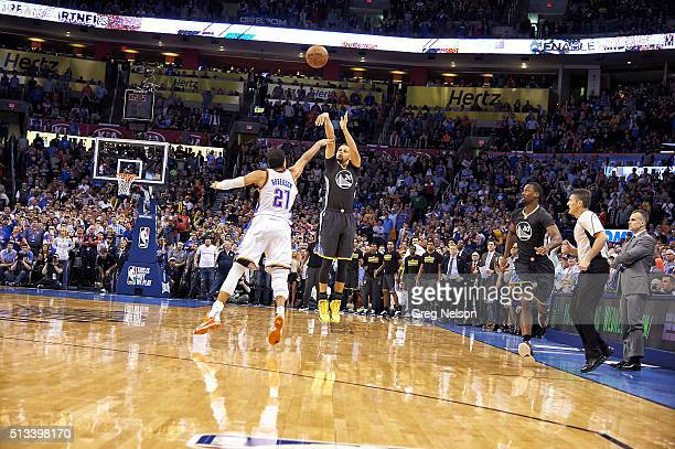 Golden State Warriors Stephen Curry in action making game winning three point shot vs Oklahoma City Thunder Andre Roberson during overtime at...
