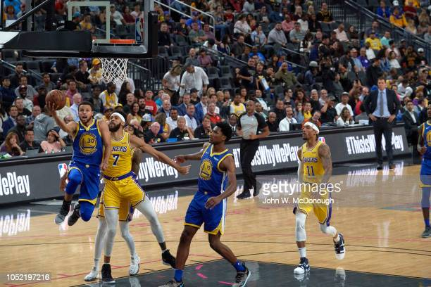 Golden State Warriors Stephen Curry in action vs Los Angeles Lakers during preseason game at T Mobile Arena Las Vegas NV CREDIT John W McDonough