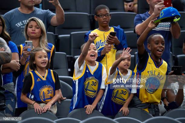 Golden State Warriors young fans courtside before preseason game vs Los Angeles Lakers at T Mobile Arena Las Vegas NV CREDIT John W McDonough