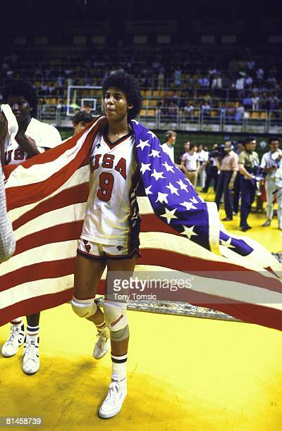 Basketball Goodwill Games USA Cheryl Miller victorious with USA flag after winning gold medal game vs USSR Moscow USR 7/1/1986