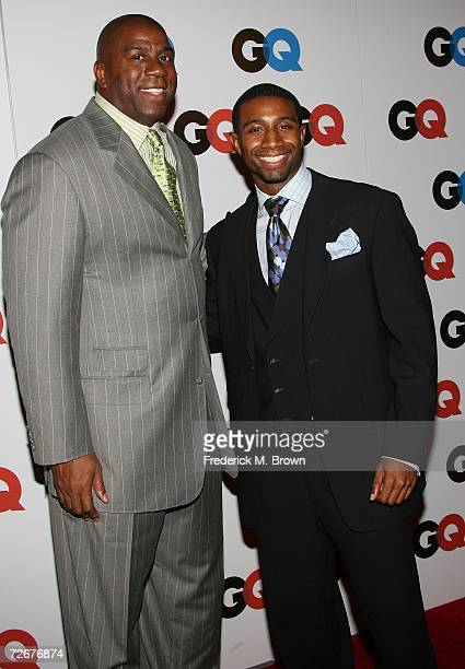 Basketball great Magic Johnson and football player Andre Johnson arrives at the GQ magazine 2006 Men of the Year dinner celebrating the 11th Annual...