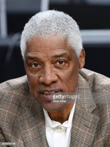 Hall of Fame NBA player Julius Dr J Erving attends a firstround game of the Pac12 basketball tournament between the California Golden Bears and the...