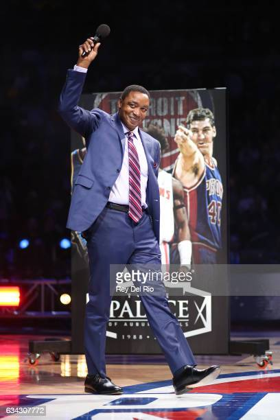 Basketball Hall of Famer Isiah Thomas was honored at halftime as part of Detroit's 'Best of Seven' series at the Palace at the Palace of Auburn Hills...