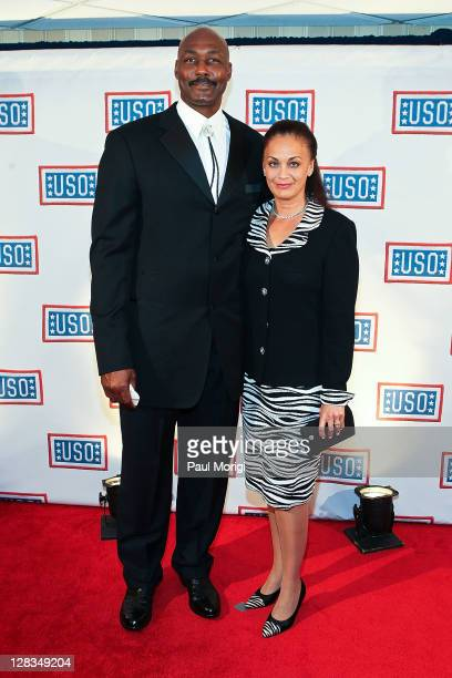 Basketball hall of famer Karl Malone and Kay Malone arrive at the 2011 USO Gala and USO Service Member of the Year Awards at the Marriott Wardman...