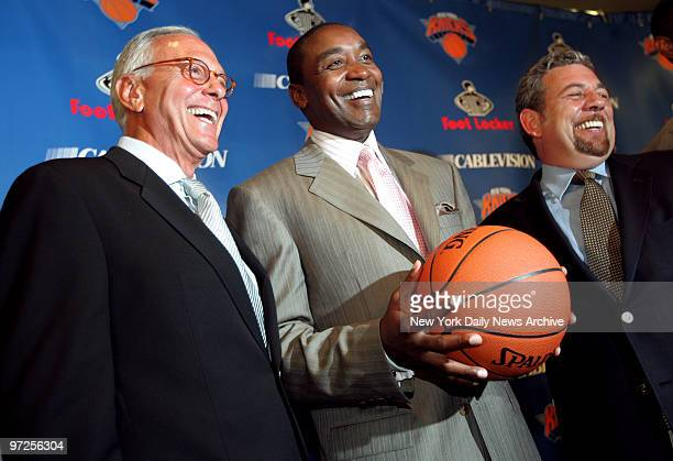 Basketball Hall of Famer Larry Brown, New York Knicks' president Isiah Thomas and Madison Square Garden chairman James Dolan get together during a...