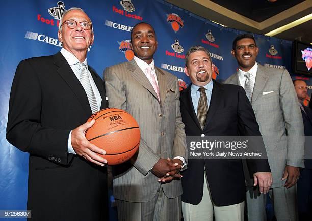 Basketball Hall of Famer Larry Brown New York Knicks' president Isiah Thomas Madison Square Garden chairman James Dolan and MSG Sports' president...