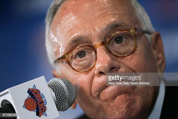 Basketball Hall of Famer Larry Brown speaks during a noon news conference in the Theater at Madison Square Garden where he was formally introduced as...