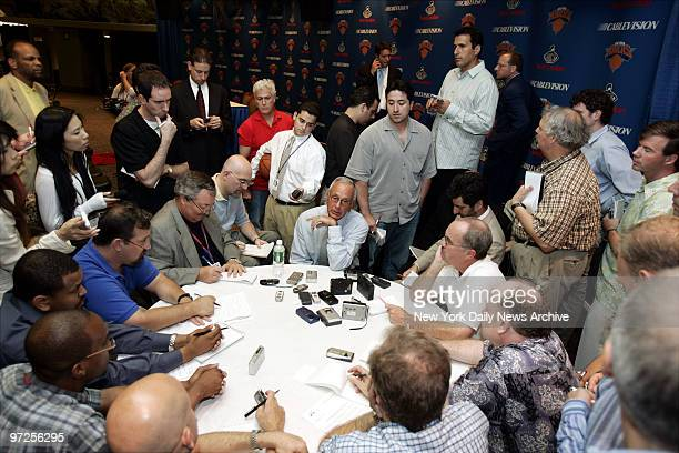 Basketball Hall of Famer Larry Brown speaks with a mob of reporters in the Theater at Madison Square Garden where he was formally introduced as the...