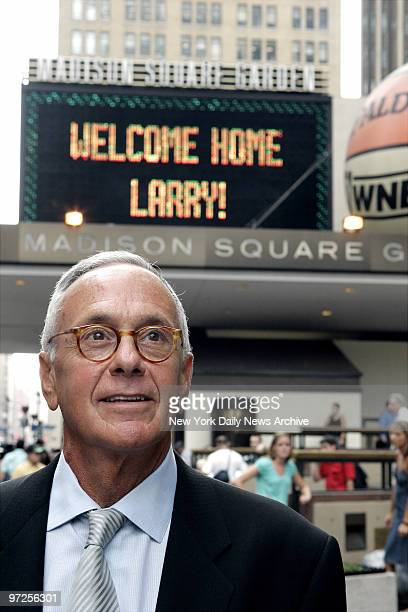 Basketball Hall of Famer Larry Brown stands near the front entrance to Madison Square Garden, where he was formally introduced as the New York...
