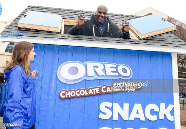 Basketball Hall of Famer Shaquille ONeal celebrates his birthday and National OREO Day by handing out free OREO Chocolate Candy Bars at the Snack...