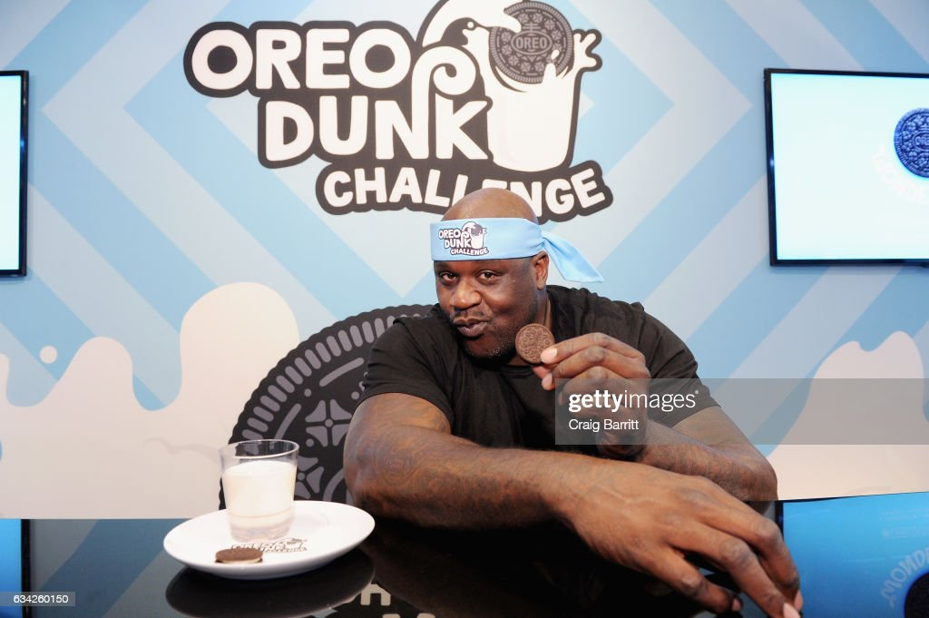 Basketball Hall of Famer Shaquille O'Neal challenged fans to go head-to-head with him as he kicked off the OREO Dunk Challenge with an innovative hands-free OREO cookie dunk on February 8, 2017 at Chelsea Market in New York City. To learn more follow @oreo or visit OREODunkSweeps.com