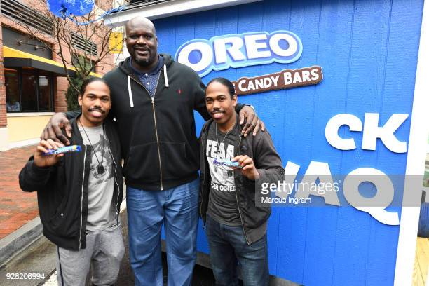 Basketball Hall of Famer Shaquille ONeal hands out free OREO Chocolate Candy Bars at the Snack Shaq to kick off his shared birthday with OREO March 6...