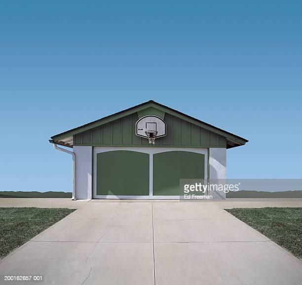 basketball hoop above garage door (digital composite) - driveway stock pictures, royalty-free photos & images