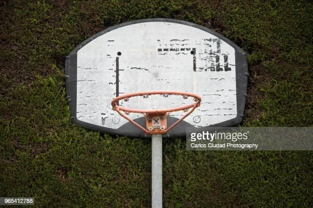 Basketball hoop against green fence