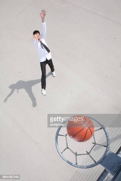basketball hoop ball man