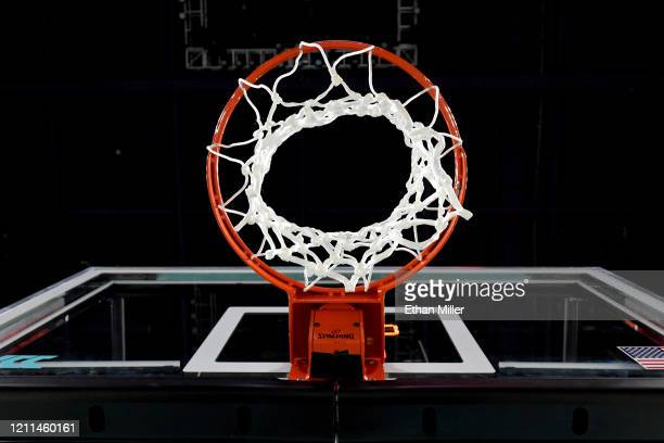 Basketball hoop, net and backboard are shown before a semifinal game of the West Coast Conference basketball tournament between the San Francisco...
