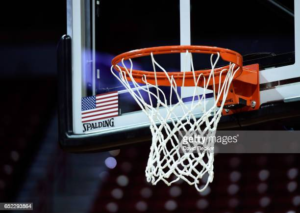 A basketball hoop net and backboard is shown before the championship game of the Mountain West Conference basketball tournament between the Nevada...