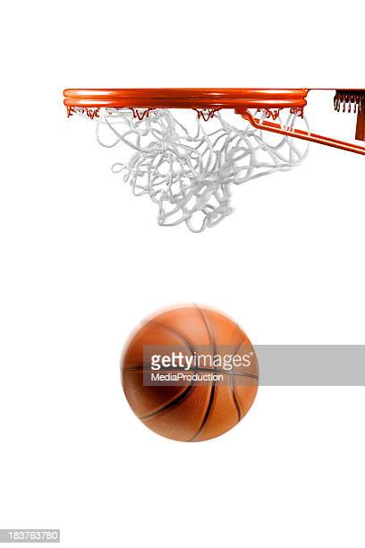 basketball hoop net and ball on white - basket stock photos and pictures