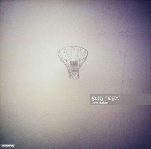 Basketball hoop on a wall