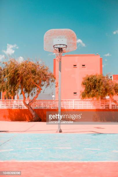 Basketball hoop on street with blue sky in background