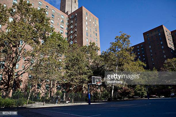 A basketball hoop stands in a recreation area in the Stuyvesant TownPeter Cooper Village complex in New York US on Thursday Oct 22 2009 Tishman...