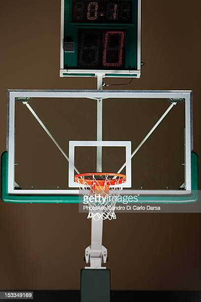 Basketball hoop with backboard and scoreboard